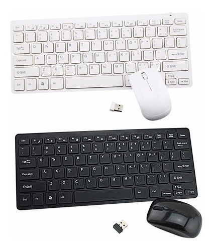 teclado e mouse usb sem fio 2.4 ghz mini slim pc, tablet