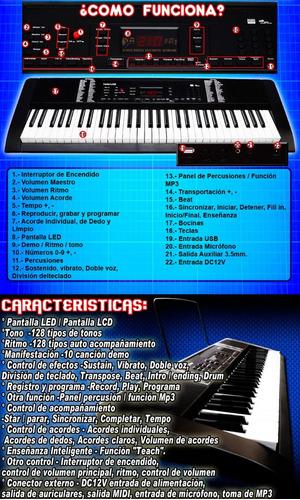 teclado electrónico profesional de 61 teclas salida aux 3.5