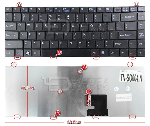 teclado en ingles (us) sony vaio fz series color negro