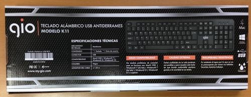 teclado español antiderrame usb gio k11 pc lapto computadora