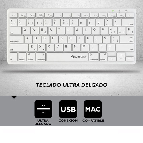 teclado eurocase ultra slim umber eukb-340m usb mac pc