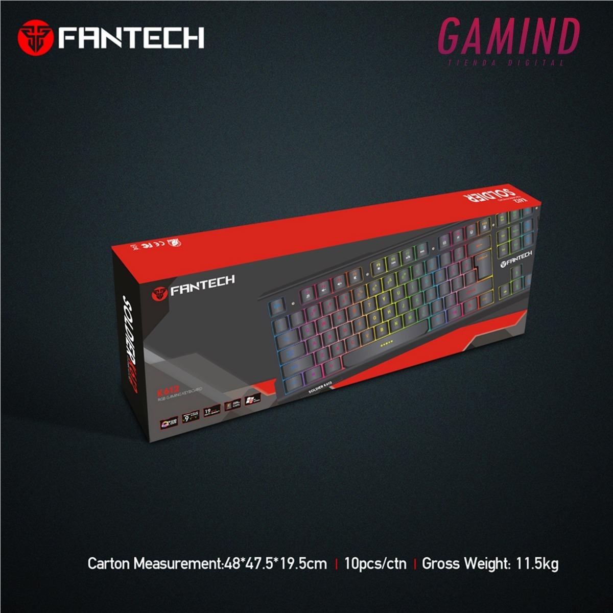 41e286da0a9 Teclado Fantech K612 Soldier Gamer Rgb - $ 1.285,00 en Mercado Libre