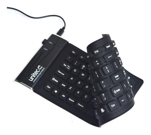 teclado flexible usb para pc impermeable, anti polvo unitec