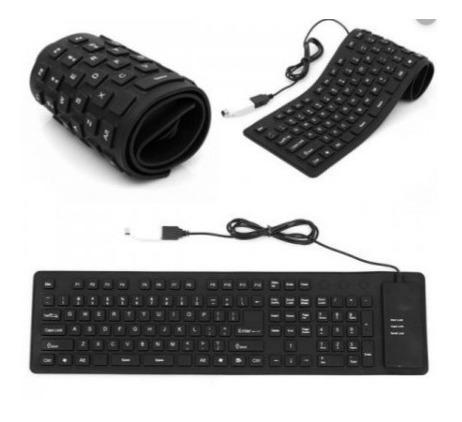 teclado flexible usb portatil plegable resistente polvo agua