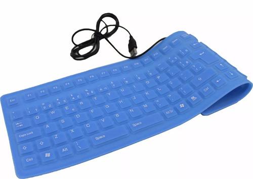 teclado flexível dobrável silicone azul usb impermeavel