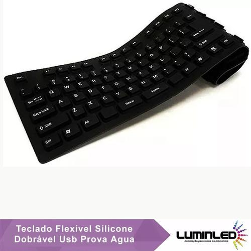 teclado flexível silicone dobrável usb prova agua