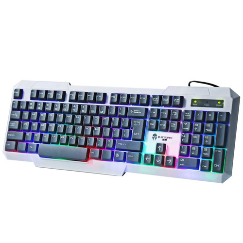 teclado gamer b-storm k20 retroiluminado led de colores usb