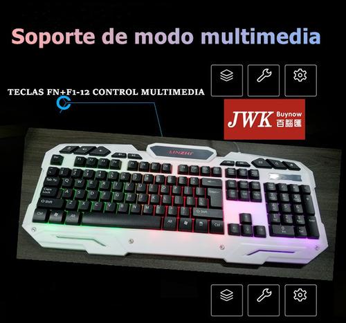 teclado gamer color blanco multicolor linzhi kb-18 usb jwk