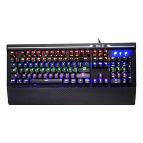Teclado Gamer Haiz Hz808 Qwerty Haiz Blue Português Brasil De Cor Preto Com Luz Rainbow