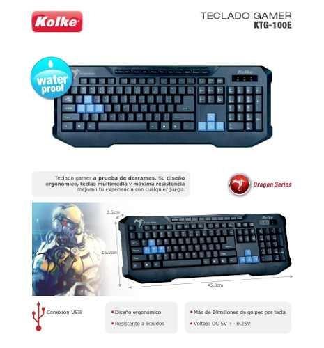 teclado gamer kolke ktg-100e usb gaming multimedia htg2