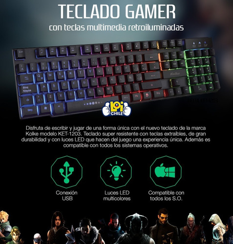 teclado gamer kolke simil mecánico usb luces led calidad loi