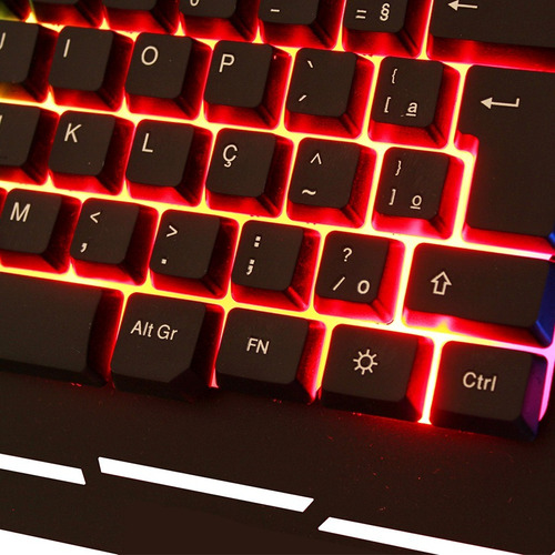 teclado gamer luminoso led  colorido base de metal dhj 539