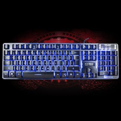 teclado gamer marvo k632 rgb semimecanico slim anti-ghostin