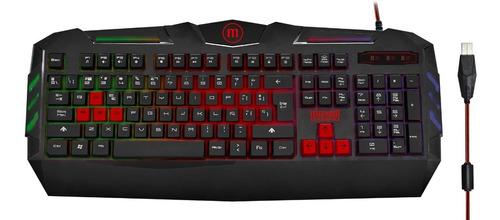 teclado gamer maxell gaming kb-1200 iluminado / color negro