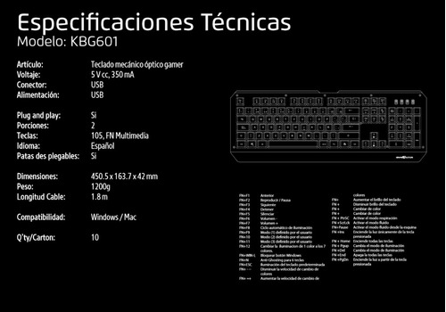 teclado gamer mecanico optico rgb .2ms game factor kbg601