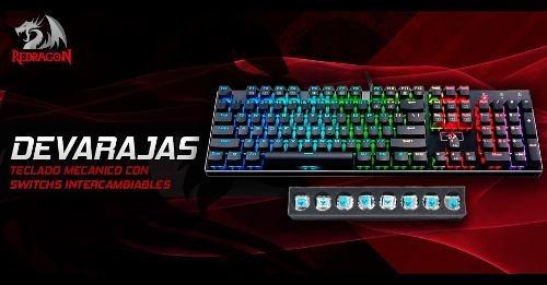 teclado gamer mecanico redragon k556 devarajas rgb chrom ht2