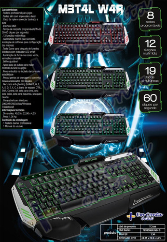 teclado gamer metal war iluminado macro anti-ghosting tc189