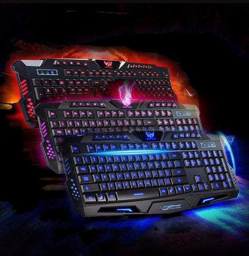 teclado gamer multimedia usb alambrico iluminacion led