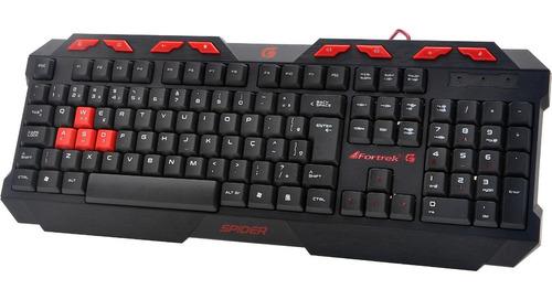 teclado gamer multimidia fortrek spider gk-706 black / red