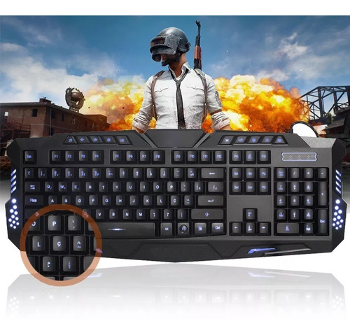 teclado gamer multimídia luminoso usb abnt2 computador pc