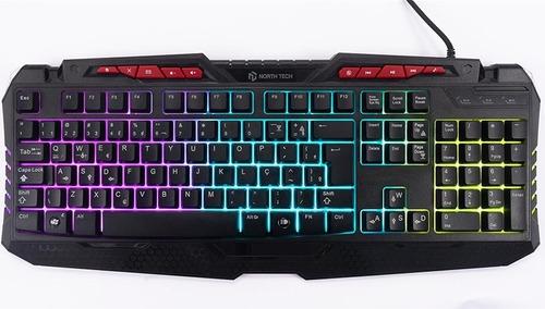 teclado gamer north tech  retroiluminado ergonomico netkey