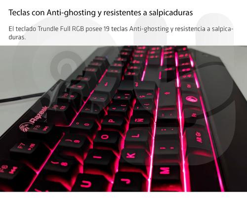 teclado gamer razeak trundle full rgb 15 iluminaciones oy