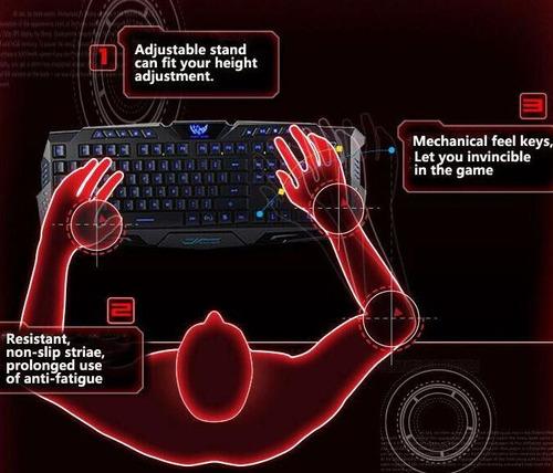 teclado gamer retroiluminado tricolor  azul rojo morado m200