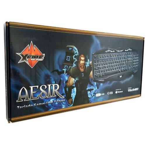 teclado gamer tecdrive xfire aesir multimidia usb c/ 7 cores