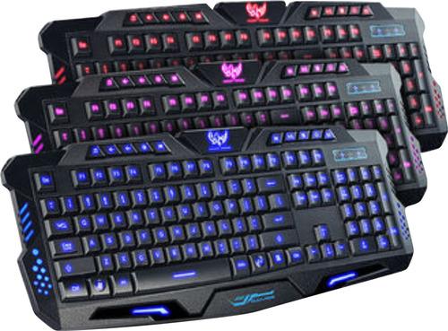 teclado gamer usb retroiluminado tricolor m200