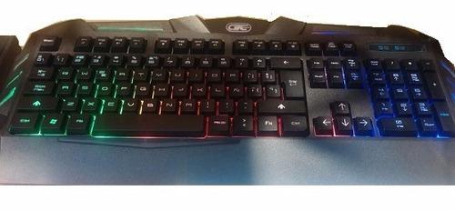 teclado gtc usb dragon pro gaming usb 2.0 luz led kgg-003
