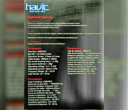 teclado havit usb hv-k838  wvista ,xp,me,2000,osx