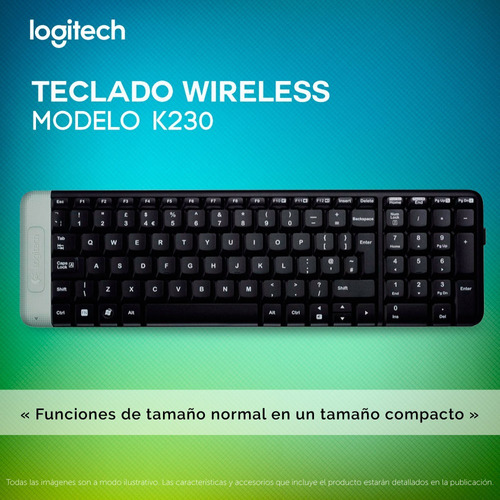 teclado inalambrico logitech k230 wireless usb negro pc
