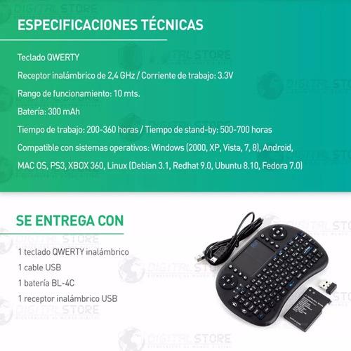 teclado inalambrico mini con luz led bluetooth + touch pad