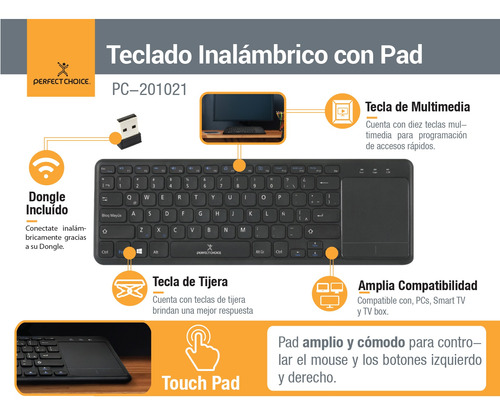 teclado inalambrico touch pad perfect choice negro pc-20102