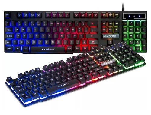 teclado luminoso semi mecânico gamer usb neon tecla ç