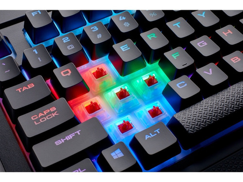 teclado mecanico corsair k68 gamer rgb, sp, cherry mx red