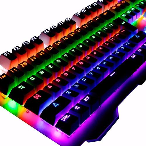 teclado mecanico retroiluminado gamer pc usb noga beam led