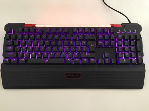 teclado mecanico verde gamer jp-133 aluminio e led