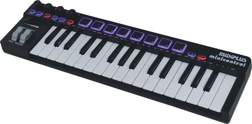 teclado midi usb midiplus minicontrol 32 teclas 8 pads promo