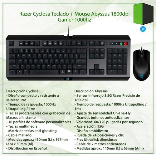 teclado + mouse gamer razer cyclosa en español