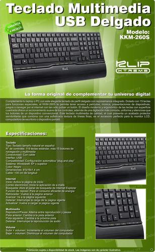 teclado multimedia ultradelgado klip xtreme contour kkm-260s