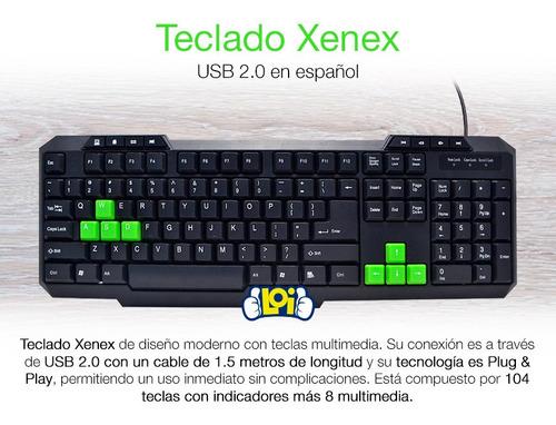 teclado multimedia xenex usb en español 112 teclas loi