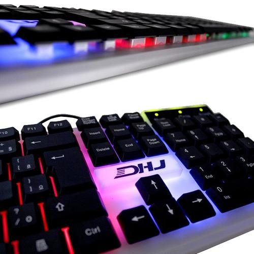 teclado multimidia iluminação led com fio usb dhj-710 full