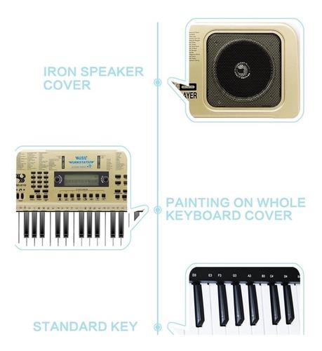 teclado musical 61 teclas usb 128 ritmos microfone gravador