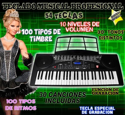 teclado musical profesional con 54 teclas y multifunciones