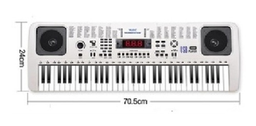 teclado musical usb led 128 ritmo piano microfone arranjador
