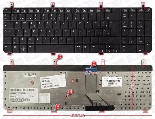 teclado nuevo español (sp) hp dv7-2000 series negro