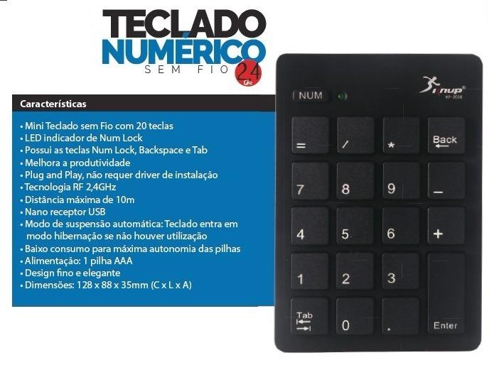 MINI TECLADO NUMERICO S/FIO WIRELESS KNUP KP-2038 - Peg do Brasil - Peças e  Acessórios Para Celular
