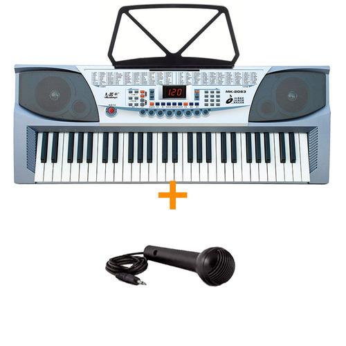 teclado organo musical 54 teclas piano lcd led rec mk2083