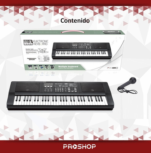 teclado organo musical piano electrico 61 teclas mic 2018